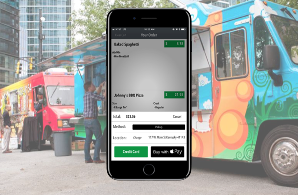 3B App interface on foodtruck backdrop