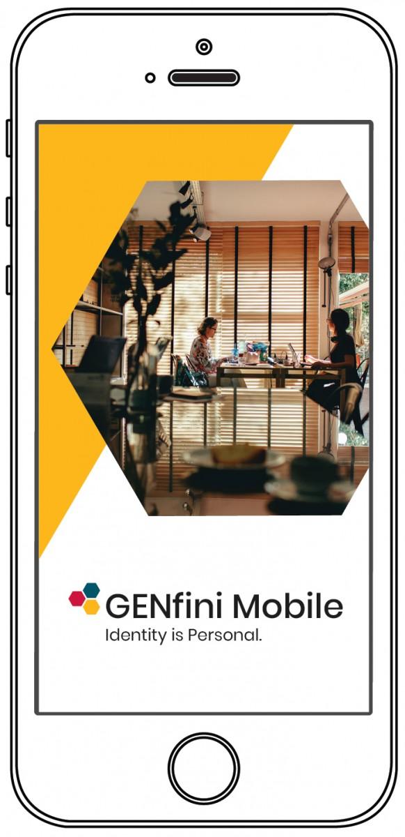 iPhone mockup of GENfini Mobile app