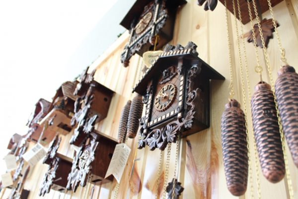 Wall full of vintage clocks