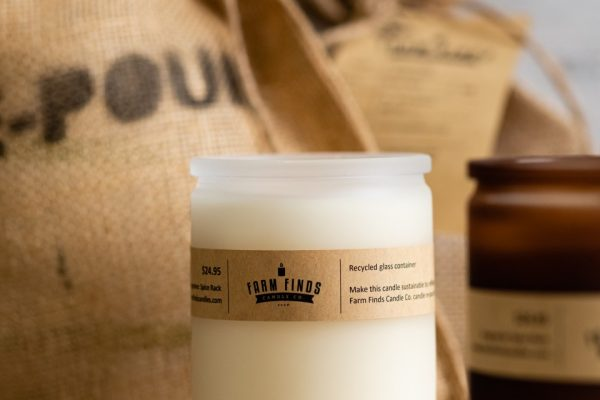 Farm Finds frosted glass candle in white