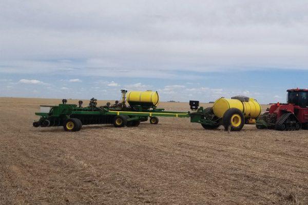 Farming equipment in a field