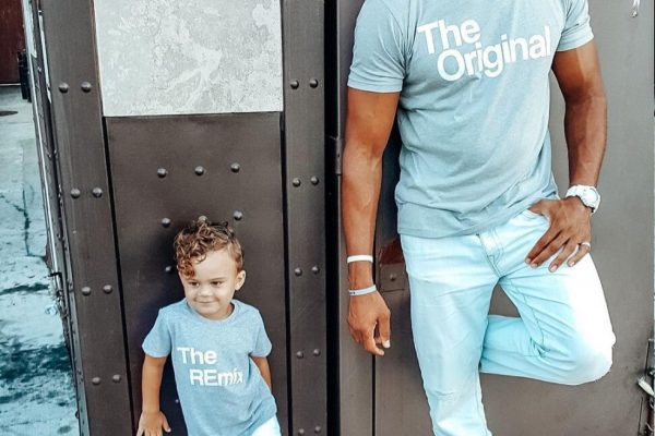 """A father with a t-shirt that says """"The Original"""" and a his child with a t-shirt that says """"The REmix"""""""