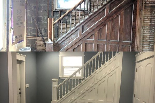 Before and after photos of a restored staircase