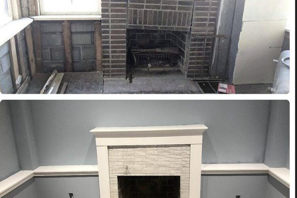 Before and after photos of a fireplace renovation